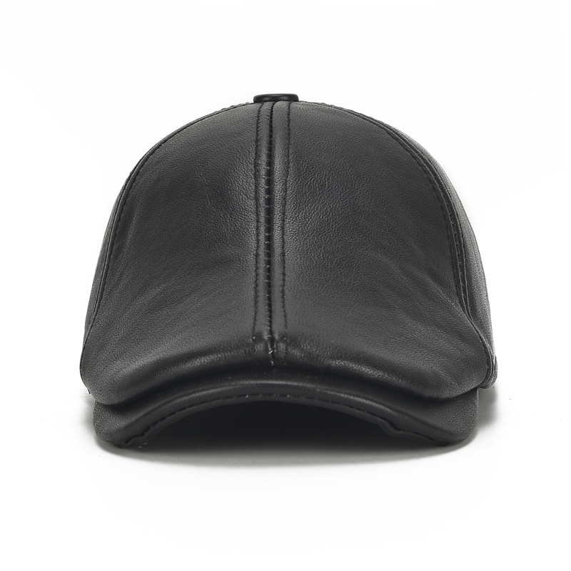 Mens Warm Real Leather Earmuffs Painter Beret Caps