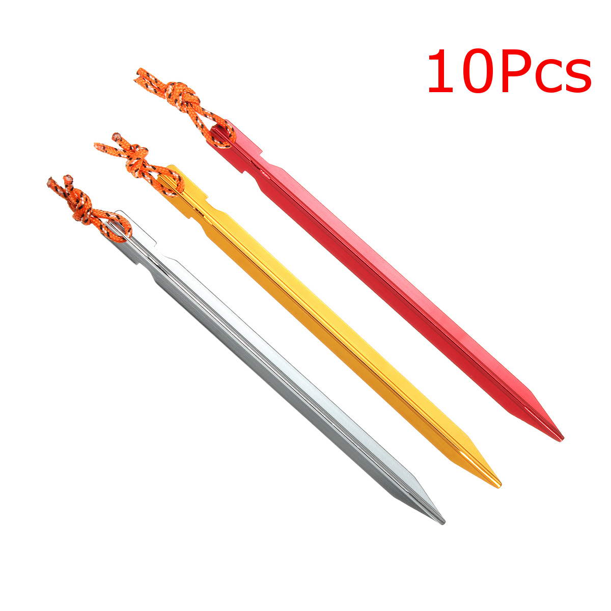 10Pcs 18cm Aluminum Alloy Camping Trip Tent Peg Nail Stakes With Strap
