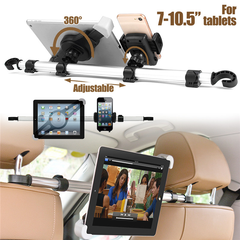 Universal Aluminum Alloy Car Headrest Holder For Phones And 7''-10.5'' Tablets