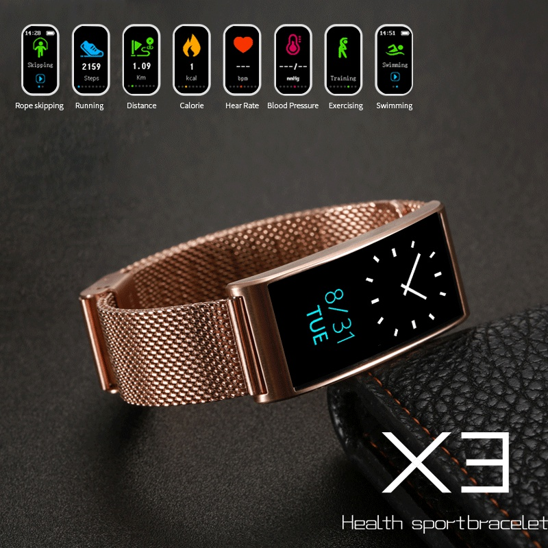 Bakeey X3 0.96inch IP68 Heart Rate Blood Pressure Monitor Pedometer Smart Bracelet For iphone Xiaomi
