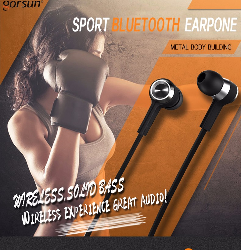 GORSUN E6 Sport Wireless CSR bluetooth 4.0 Dual In Ear Headset Long Standby Headphone For iPhone