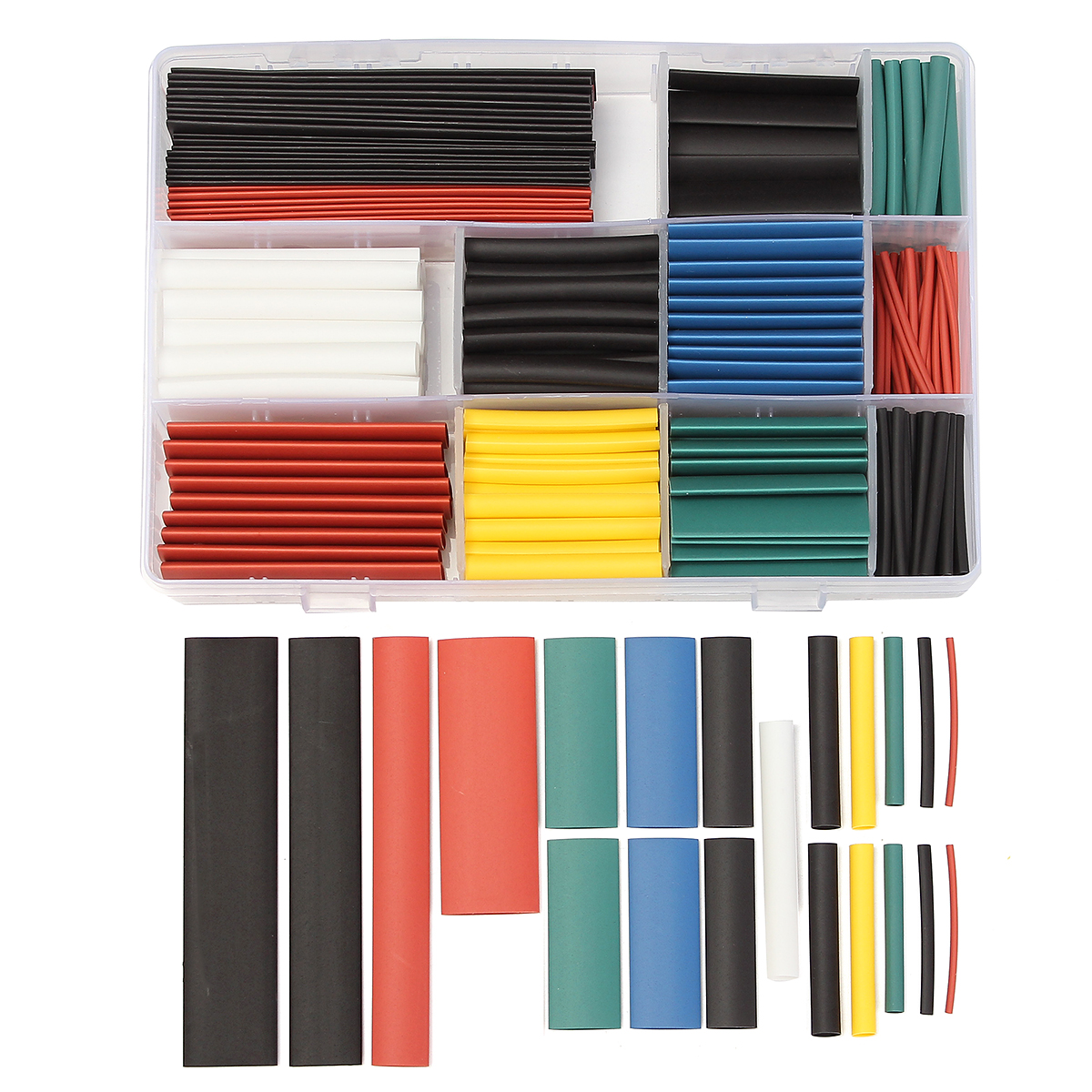 300 PCS Halogen-Free 2:1 Heat Shrink Tubing Wire Cable Sleeving Wrap 8 Size 5 Color Kit
