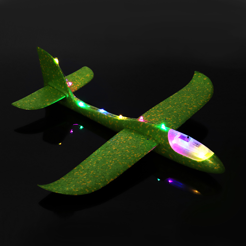 48cm 19'' Hand Launch Throwing Aircraft Airplane Glider DIY Inertial EPP Plane Toy With LED Light