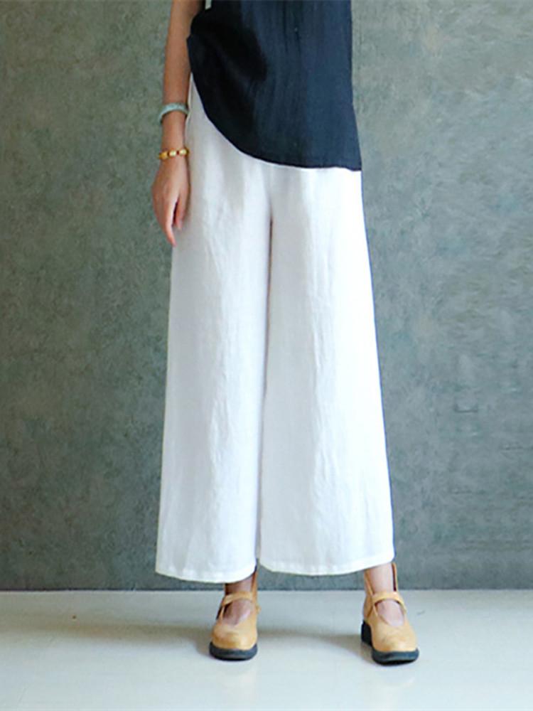 S-5XL Plus Size Women Casual Wide Leg Pants