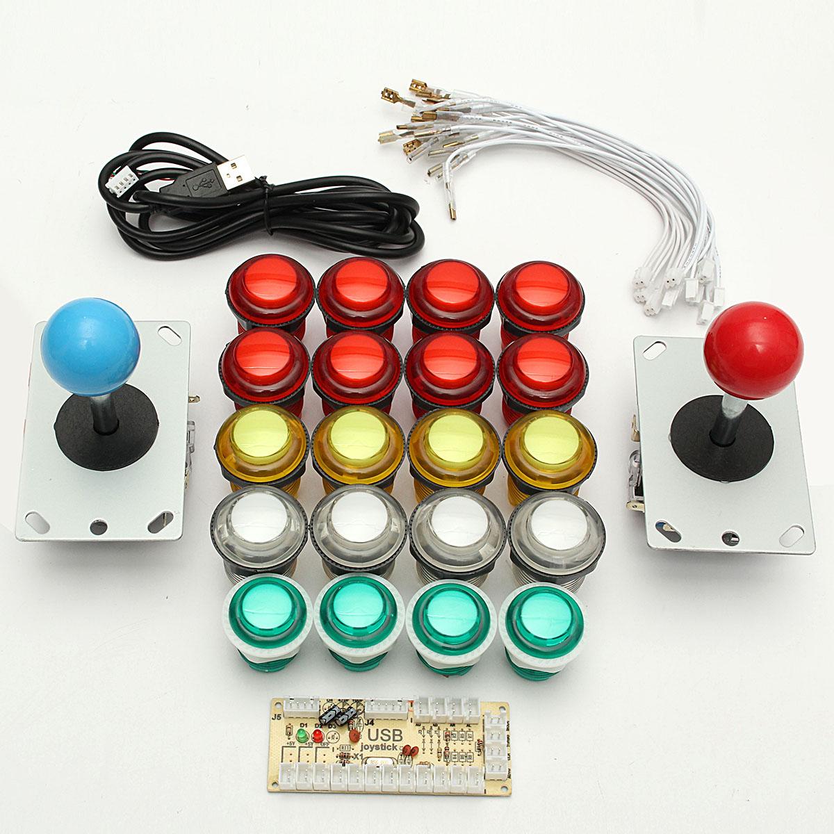 Dual Player USB Encoder 8 Way Joystick LED Illuminated Buttons PC Arcade Games DIY Kit