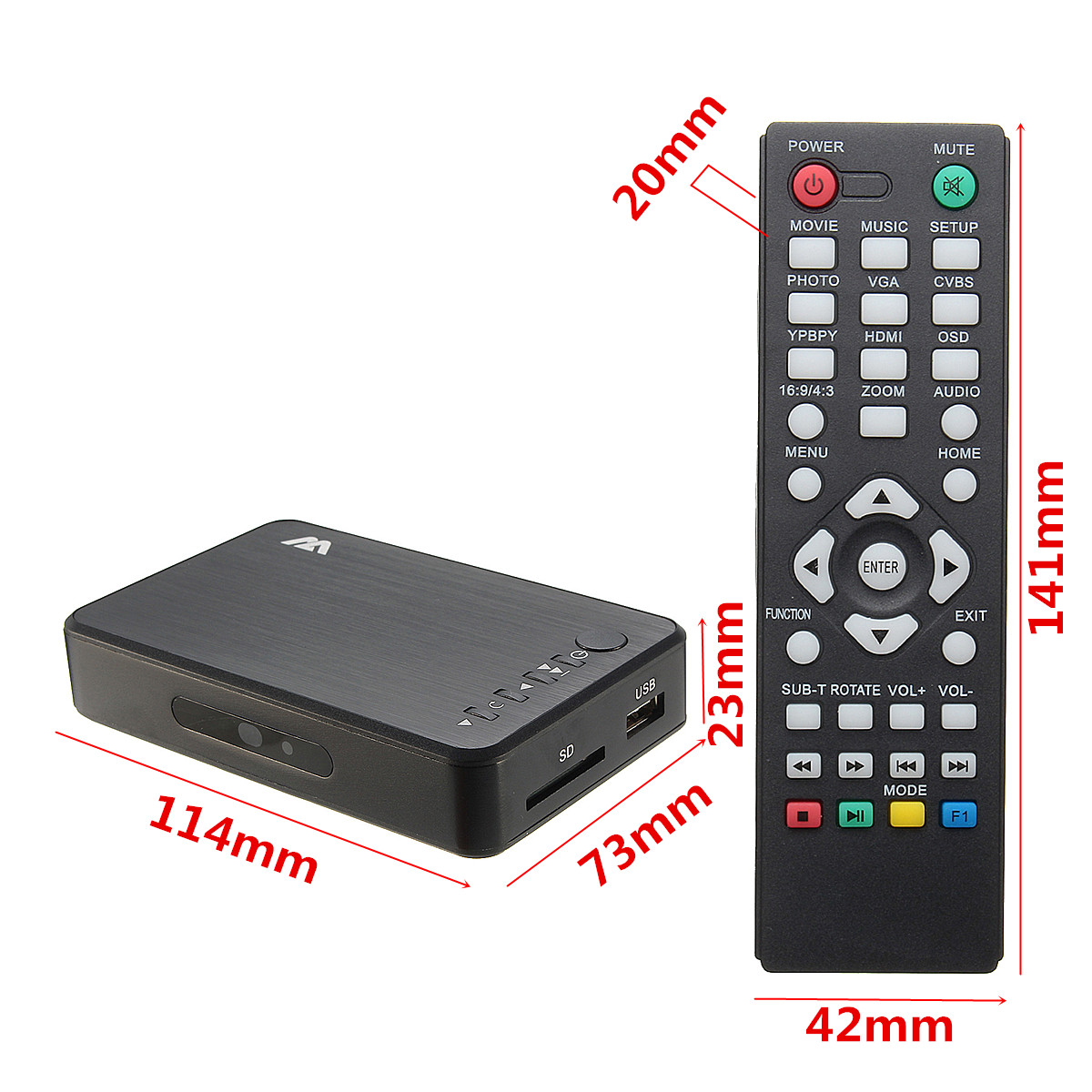Mini Full 1080P HD Car Multi Media Player TV BOX 3 Outputs VGA/AV USB & SD Card
