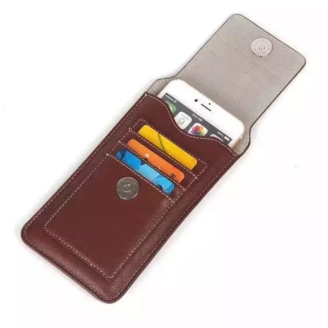 Universal PU Leather Phone Wallet Pouch Waist Bag Card Pocket Sleeve Case For iPhone Samsung Xiaomi