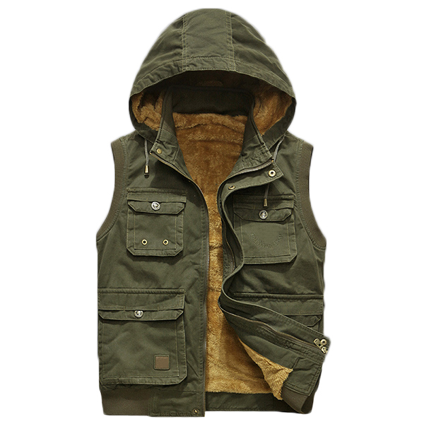 Winter Mens Velvet Cashmere Vest Hooded Jacket Wool Jacket