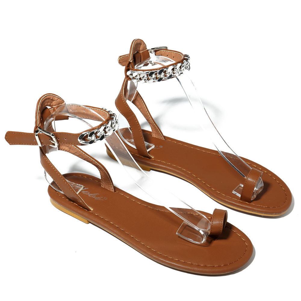 Roman Metal Chain Women Shoes Clip Toe Sandals
