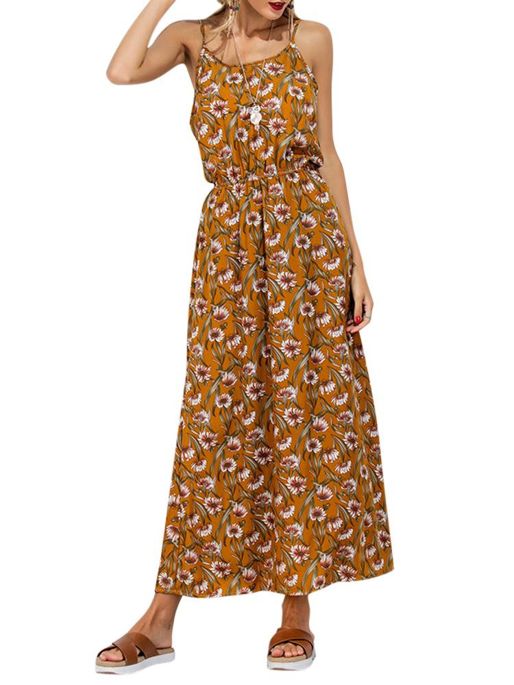 Boho Women Floral Print Backless Cami O-neck Maxi Dresses