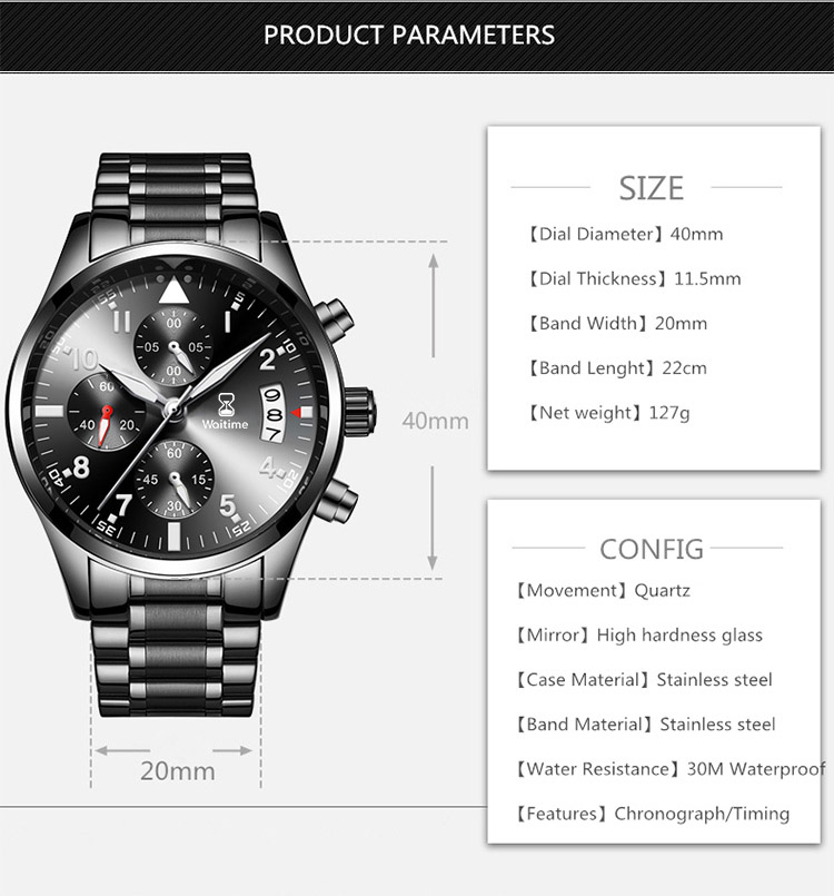 WAITIME™ 8012 Calendar Men Watch Business Style Stainless Steel Quartz Watch