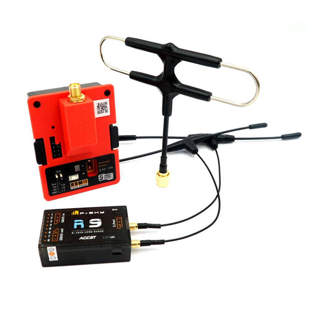 FrSky R9M 2019 Transmitter Module & R9 900MHz 16CH Long Range Receiver with mounted Super 8 and T antenna
