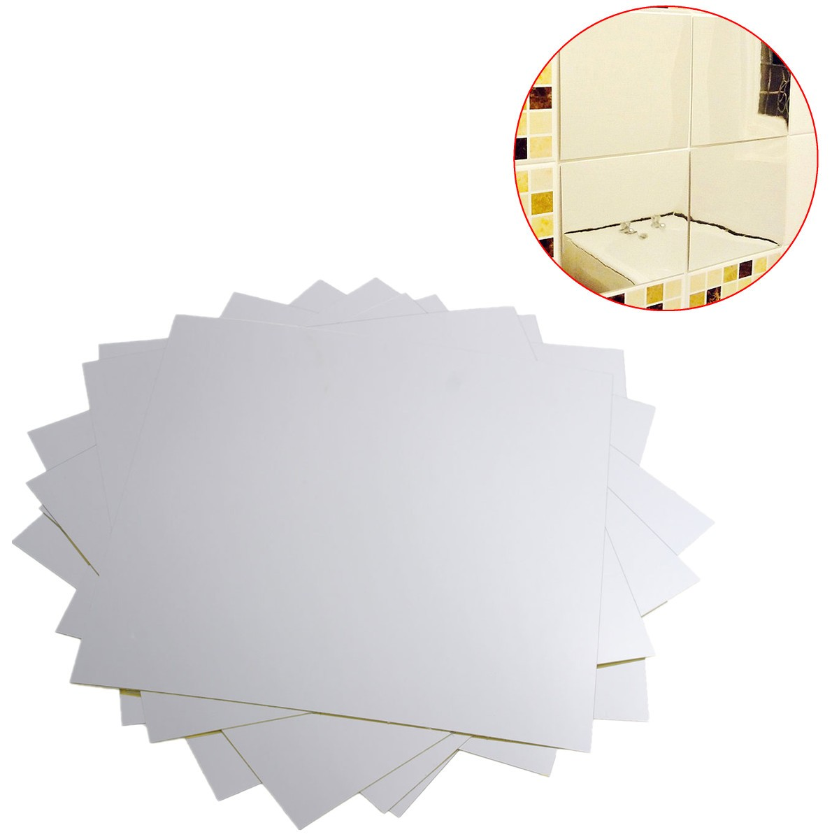 9Pcs 15×15cm Mirror Sheets Square Non Glass Mirrors Tiles Self Adhesive Mirror Wall Sticker