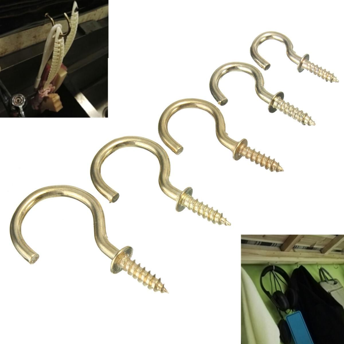 20pcs Brass Plated Cup Mug Hooks Shouldered Screws Hanging Hat Coat Peg Hanger
