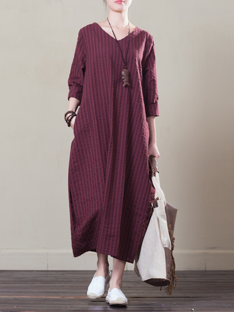 Women Casual V-neck Long Sleeve Striped Dress