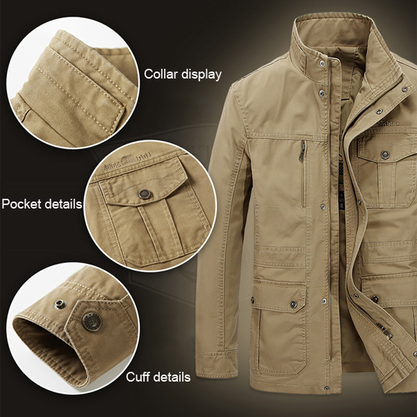 Mens Military Cotton Stand Collar Jacket Solid Color Outdoor Multi Pockets Coat