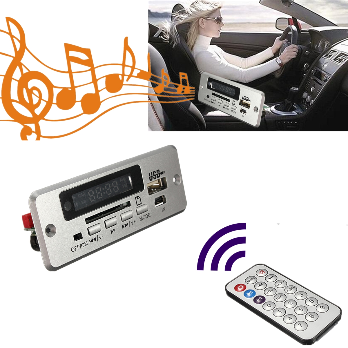 Wireless LED Car kit MP3 Audio Decoder FM Radio USB TF SD MMC Card Remote Control 5V