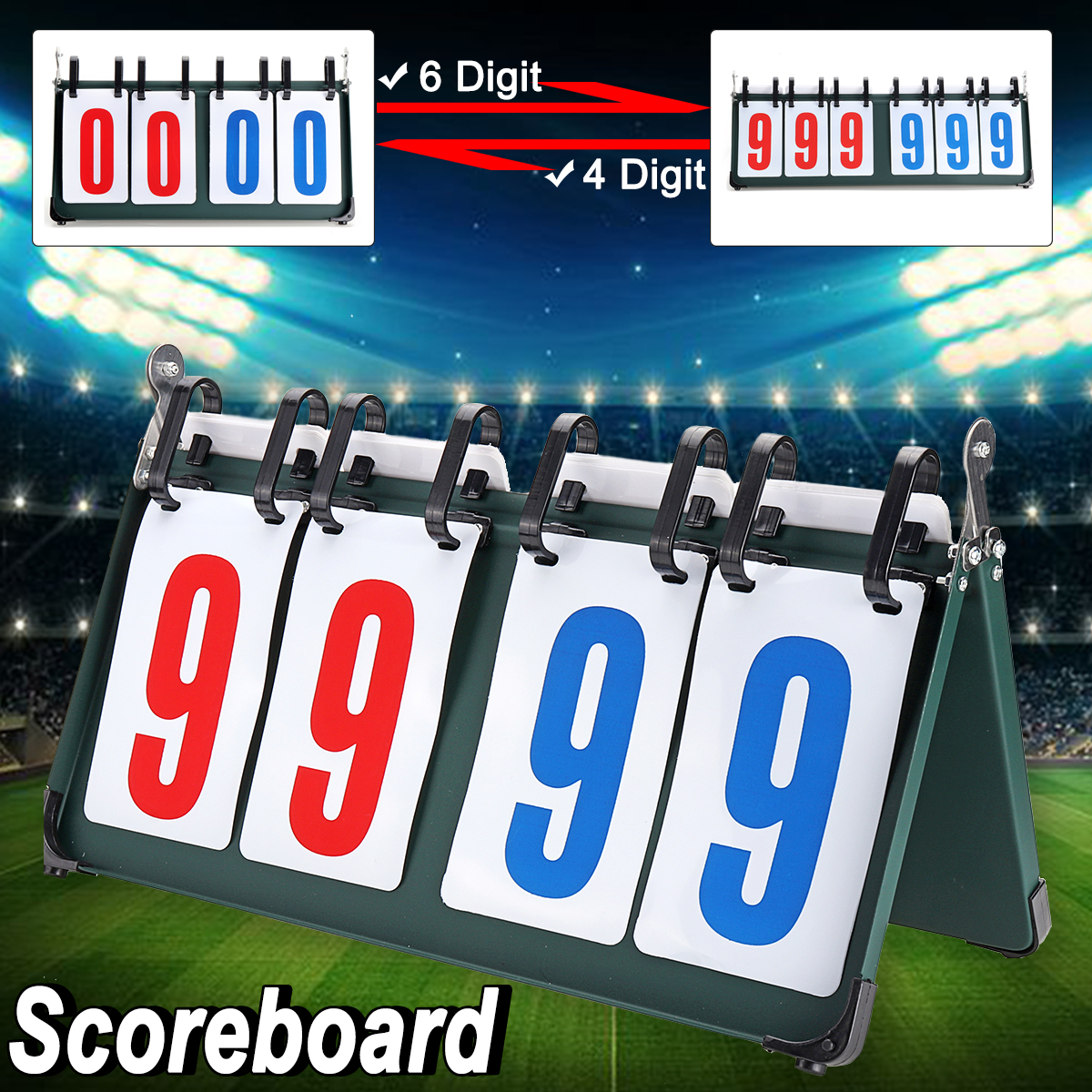 4/6 Digit Scoreboard Separator Portable Sports Match Football Basketball Game Judge Flip Score Board
