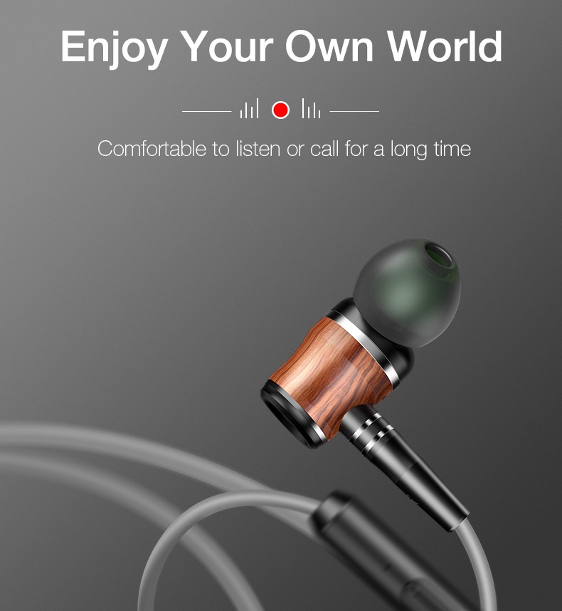Cafele Wood Grain 3.5mm In-ear Dynamic Earphone Heavy Bass Headphone for iPhone Samsung Xiaomi