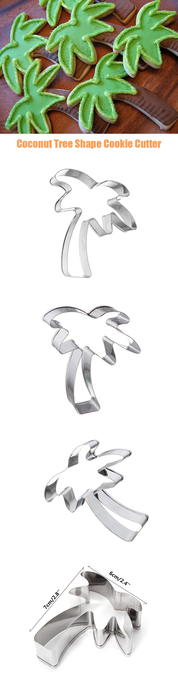 Coconut Tree Shape Stainless Steel Cookie Cutter Cake Baking Mold