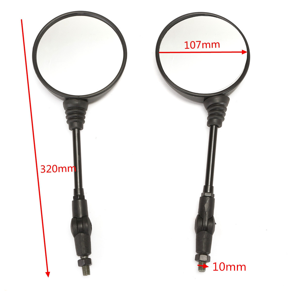 Round Motorcycle Folding Rear View Side Mirror M10x1.25mm