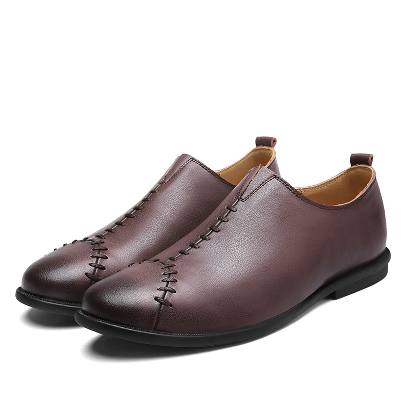 Men Comnfy Genuine Leather Cap Toe Stitching Slip On Flat