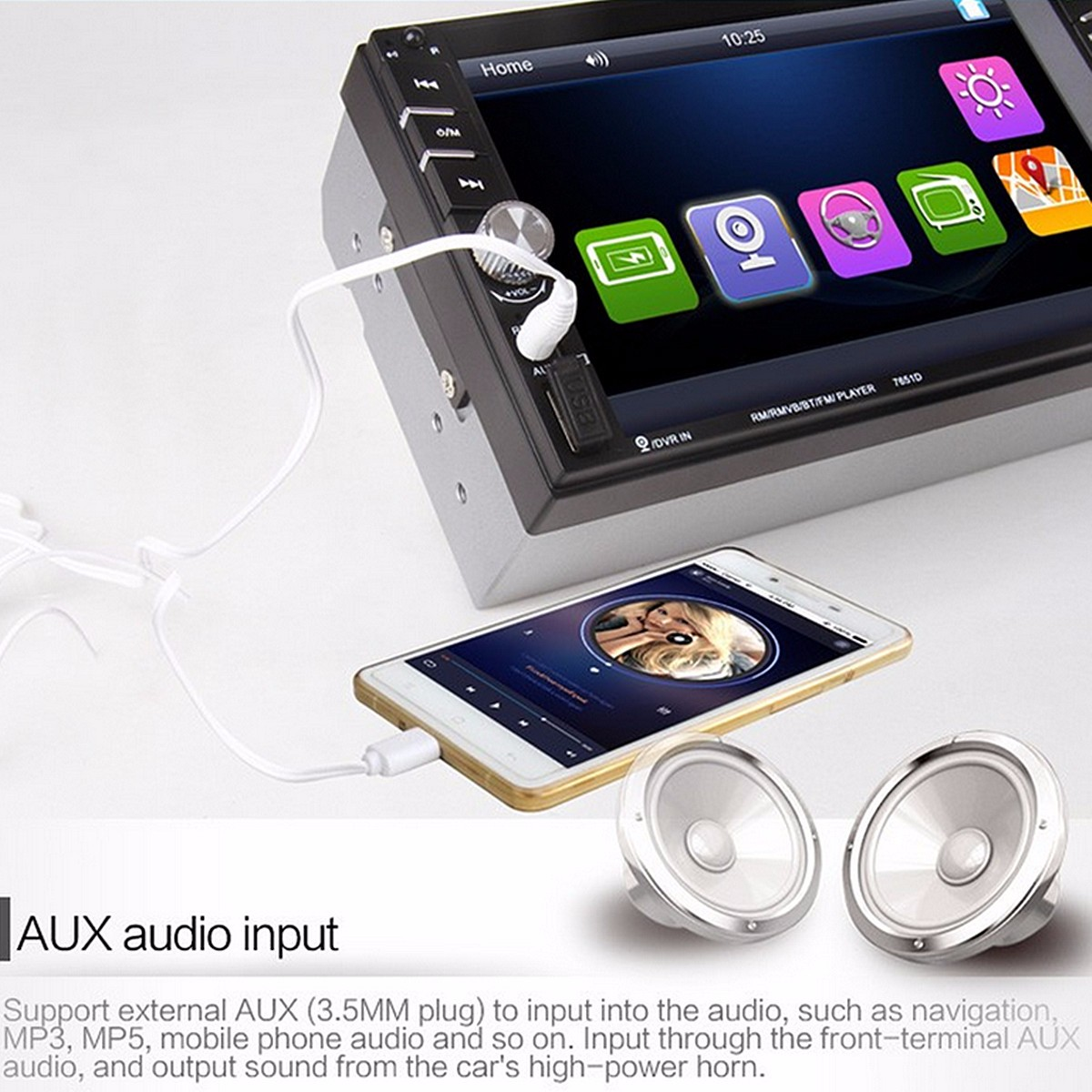 6.6 Inch TFT Touch Screen 2 DIN Car MP5 Player Stereo Radio With Rear Camera