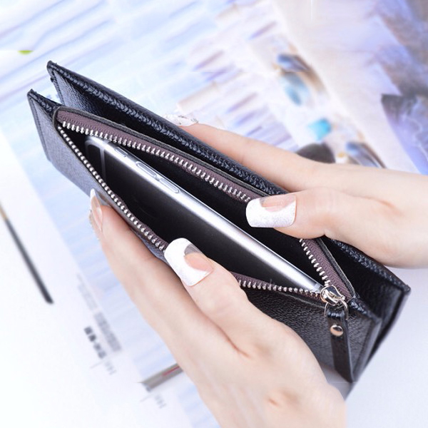 Women PU Zipper Long Wallet Hasp Super Thin Zipper Purse Card Holder 5.5'' Phone Bag For Iphone 7P
