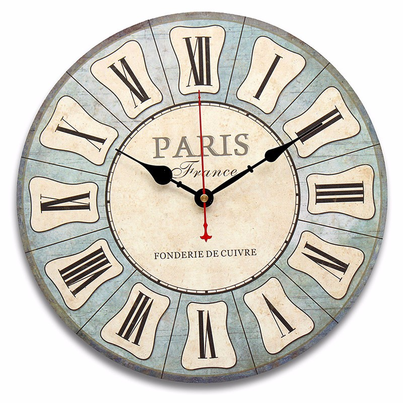 Colorful Large Wooden Wall Clock Vintage Rustic Shabby For Home Decoration Art