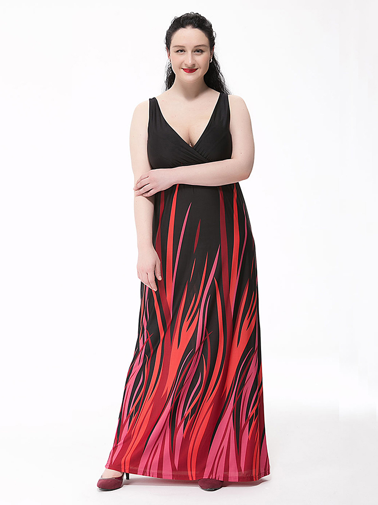 Sexy Women Party Strap V Neck Printed Ice Silk Maxi Sundress