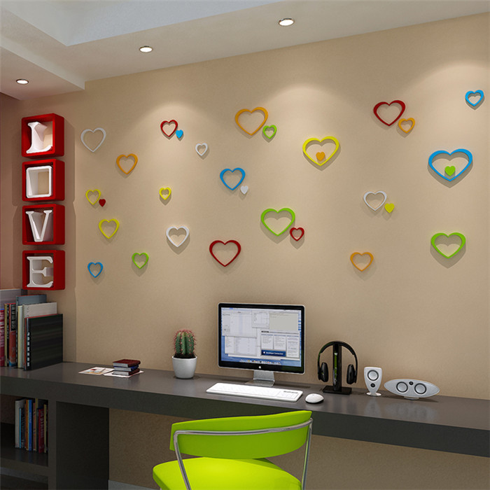 5Pcs 10 Colors DIY Heart Shape Wall Stickers Decal Acrylic Home Wall Door Bedroom Decor