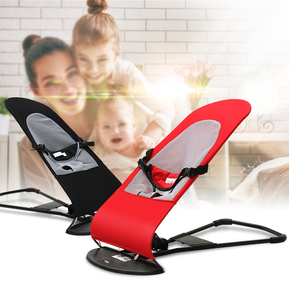 Foldable Soft Newborn Baby Bouncing Chair Seat Safety Balanced Rocking Bouncer