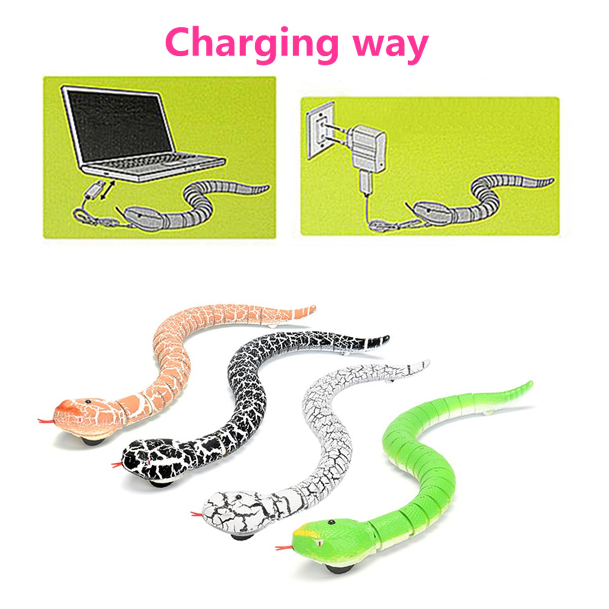 Remote Control Infrared RC Black Rattlesnake Snake Fun Joke Gag Toy USB Charging