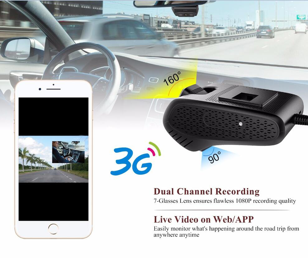 Jimi JC200 HD 1080P EdgeCam Pro 3G Car DVR With Dual Camera GPS Tracker Remote Monitoring