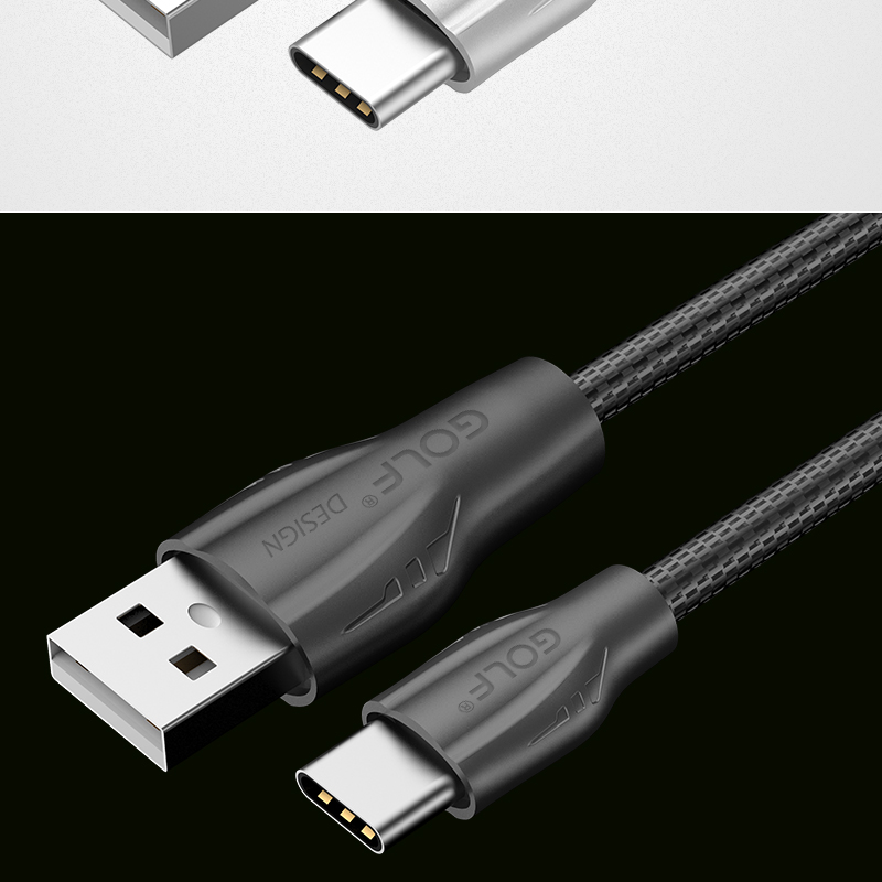 GOLF 2.4A Full Metal Type C Fast Data Sync Charging Cable 1M For Samsung S8 Xiaomi 6 OnePlus 5
