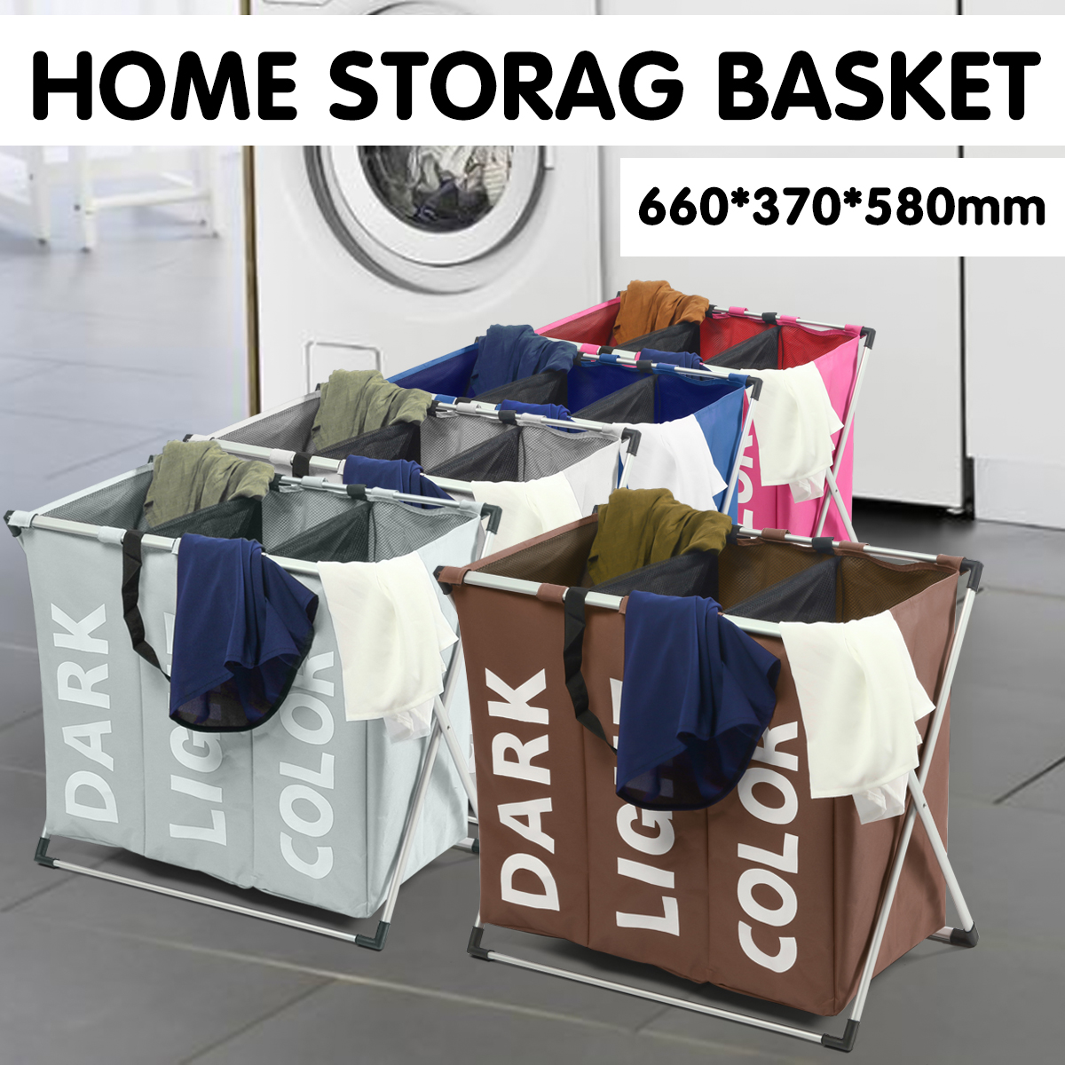 Cloth Lattice Laundry Basket Three Dirty Clothes Home Furnishing Lint Dirty Clothes Storage Baskets