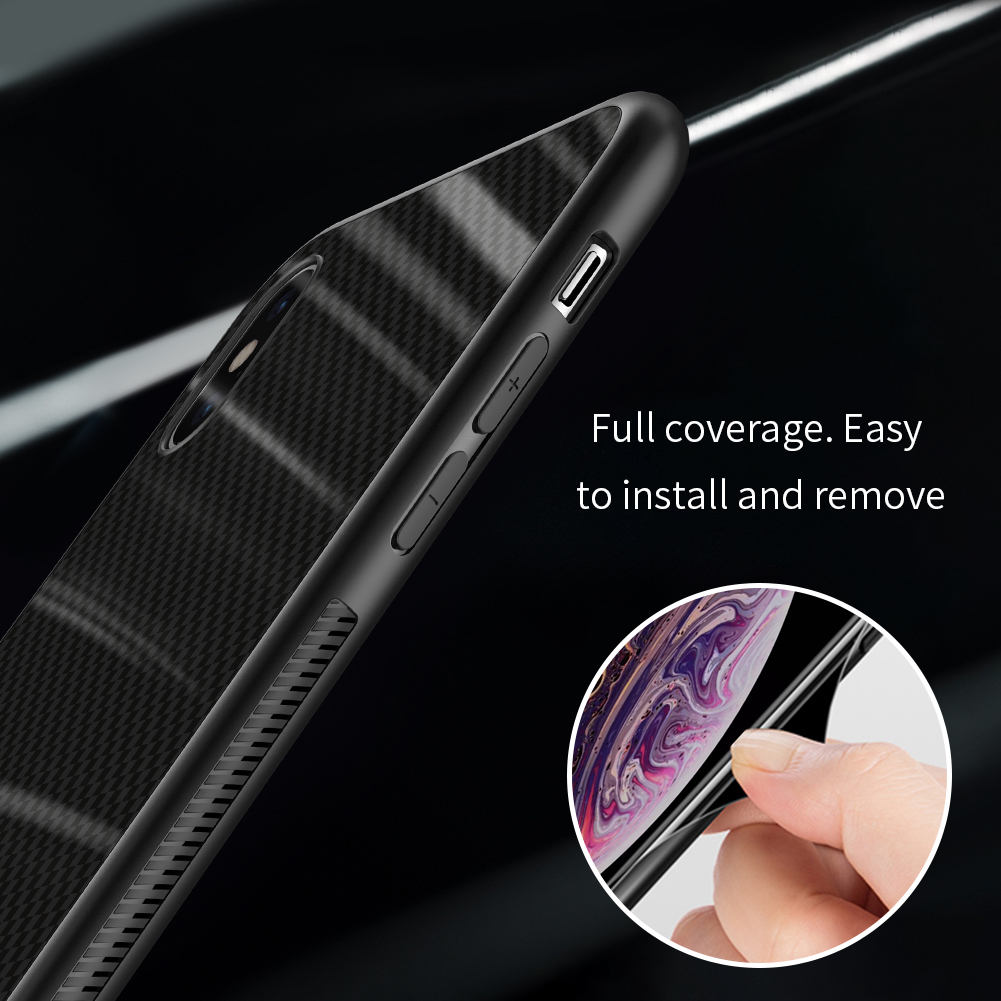 NILLKIN Shockproof Tempered Glass + Soft TPU Back Cover Protective Case for iPhone XS