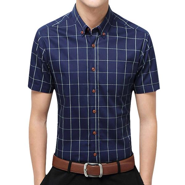 Mens Summer Fashion Plaid Printing Business Casual Shirts