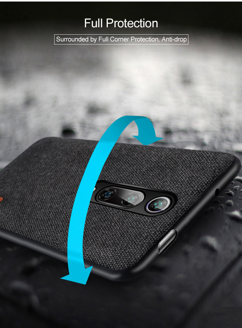 Bakeey Luxury Fabric Splice Soft Silicone Edge Shockproof Protective Case For Xiaomi Mi 9T / Xiaomi Mi 9T PRO / Xiaomi Redmi K20 / Redmi K20 PRO
