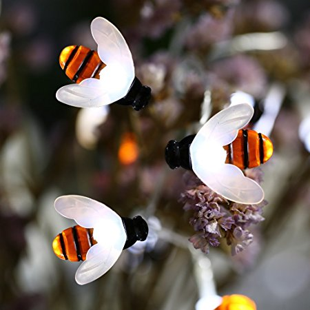 Solar Powered 5M 20LEDs Waterproof Black Yellow Bee Fairy String Light for Garden Party Christmas