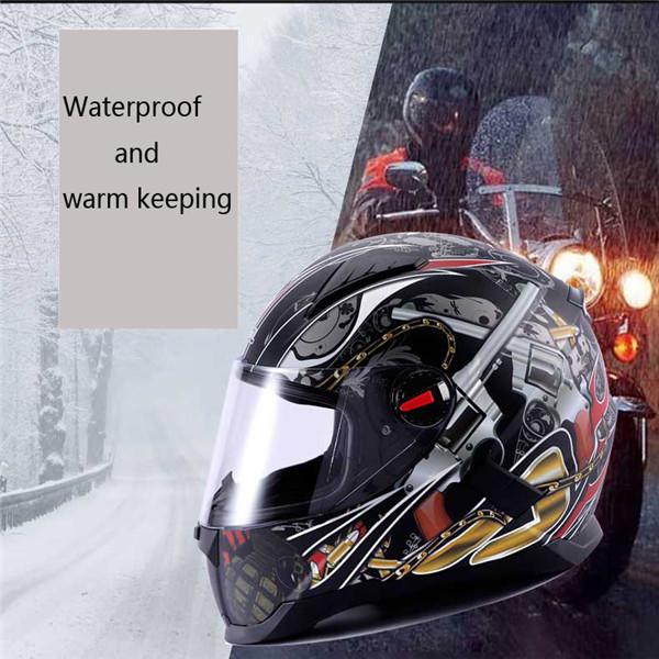 LVCOOL Motorcycle Full Face Helmet Street Sport Bike Anti Fog Winter Racing Warm