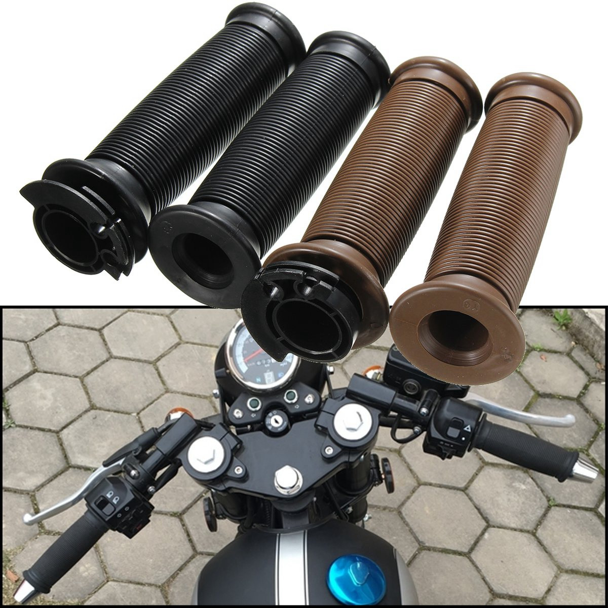 Motorcycle 7/8 Inch Handlebar Grips For Cafe Racer Bobber Clubman Custom