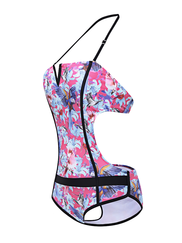 Sexy Halter Bird Floral Printed Backless Waist Hollow Out Push Up One Piece Monokini