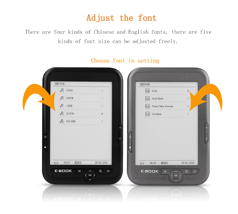 BK-6006 Electronic Paper Ebook Reader 6 Inch E-ink Screen