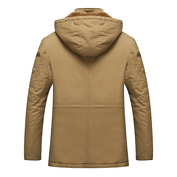 Mens Winter Outdooors Casual Thick Hooded Jacket Warm Multi Pocket Velvet Coat