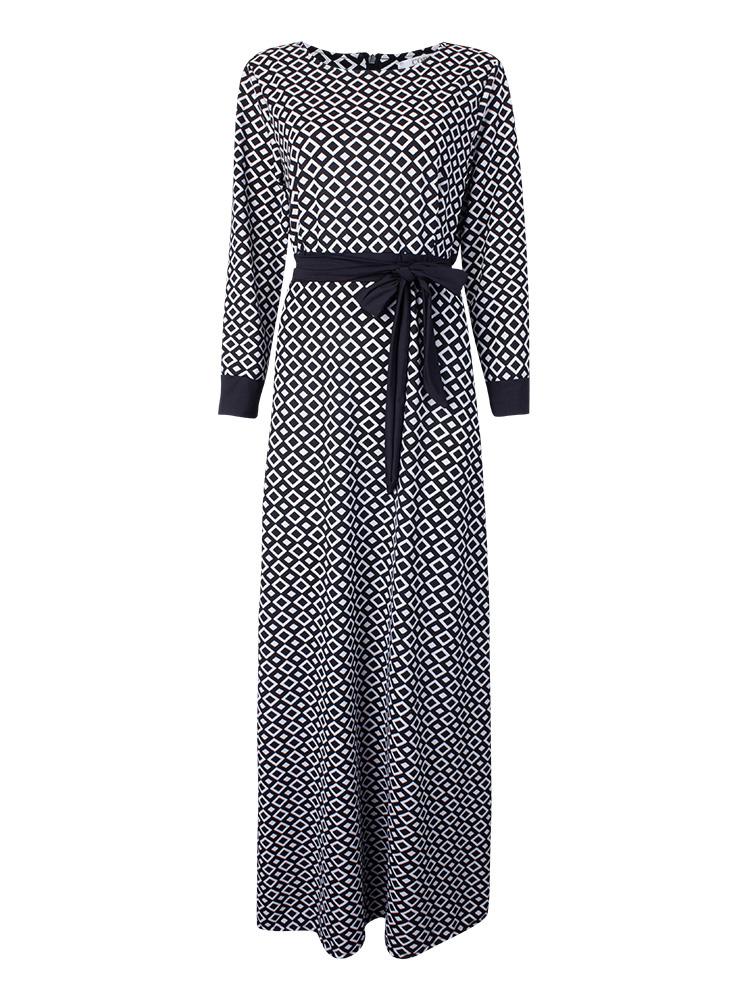 Vintage Elegant Women Plaid Long Sleeve Floor Length Dress With Belt