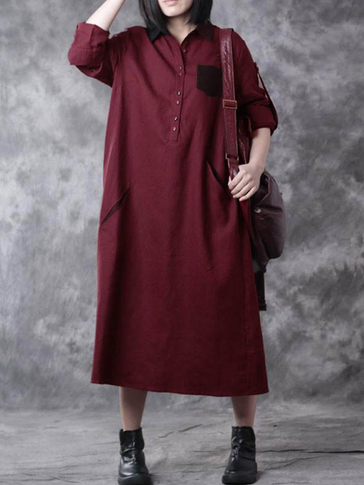 Casual Women Button Down Lapel Maxi Dress