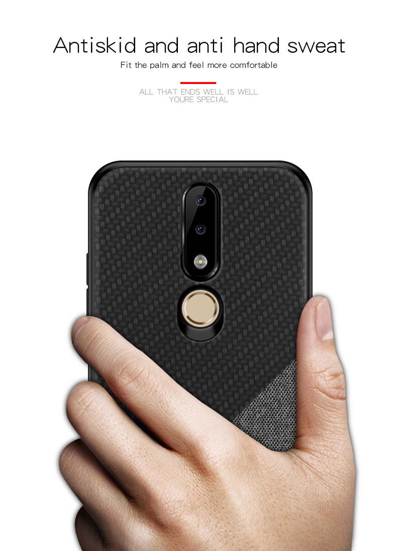 Mofi Shockproof Anti-slip Soft Silicone Back Cover Protective Case for Nokia X6 / 6.1 Plus
