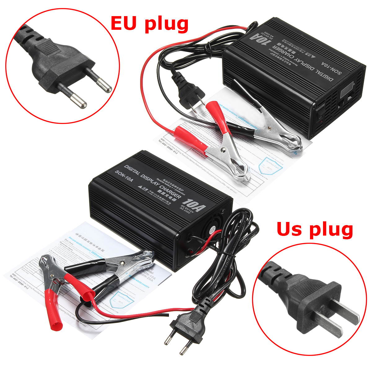 6V/12V 10A Smart Car Motorcycle Battery Charger Lead Acid Battery Charger 230V