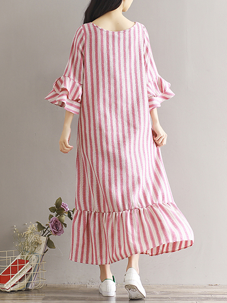 Women Striped Ruffles Loose Casual Mid-Calf Dresses